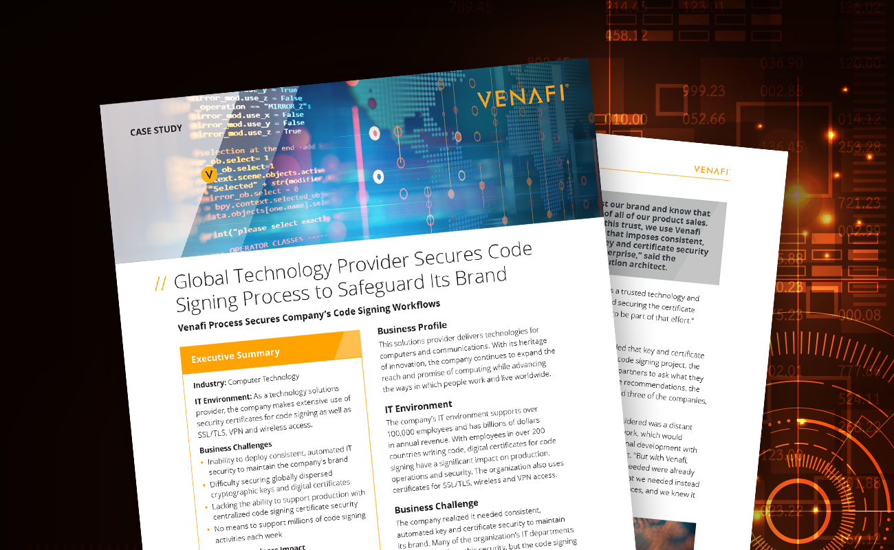 Global Technology Provider Secures Code Signing Process to Safeguard Its Brand