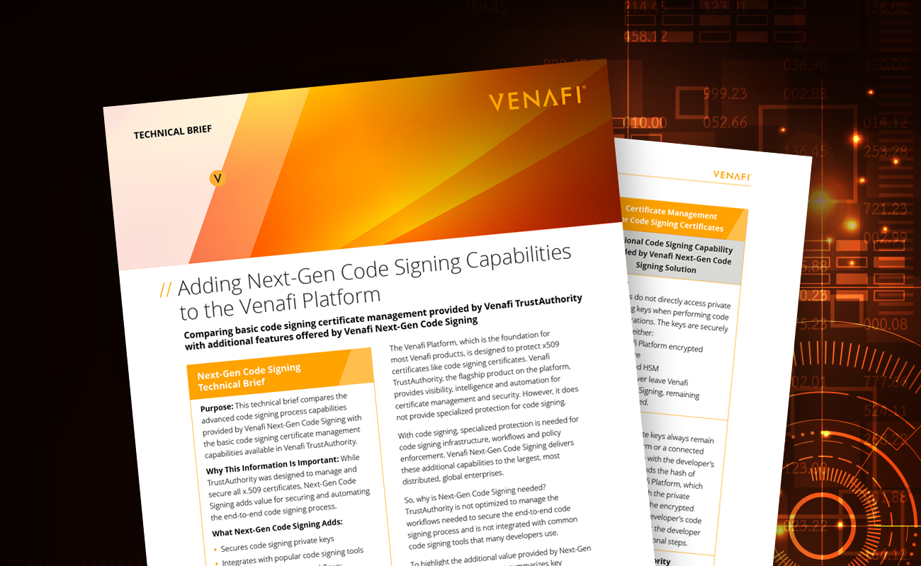 Adding Next-Gen Code Signing Capabilities to the Venafi Platform