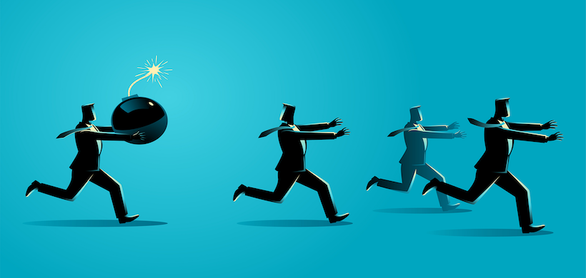 infographic of three businessmen running from one businessman with a ticking time bomt