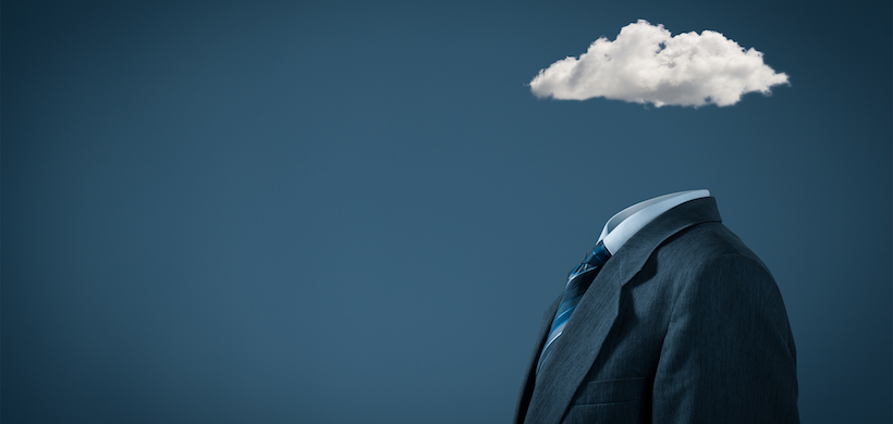 image of a man in a suit with a cloud in place of his head