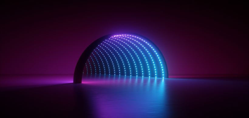 graphic image of an electrically lit tunnel, apparent from the inside but invisible from the outside