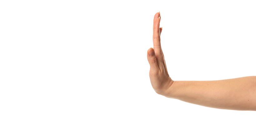 "side image of a hand being held out to signal ""stop"""