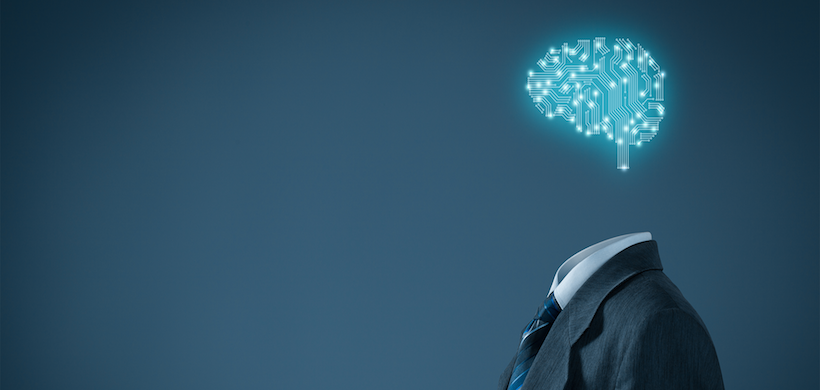 image of a man in a suit with a digital brain floating in place of his head