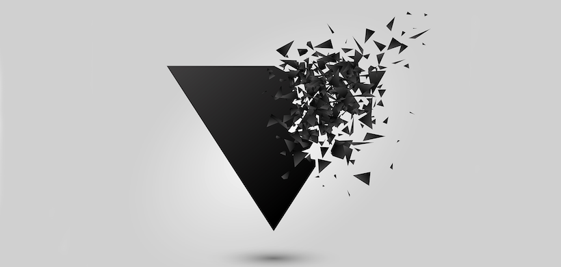 graphic of an upside down black triangle, disintegrating at one corner into geometric pieces