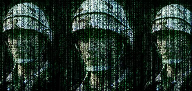 graphic of three soldiers' faces in ones and zeros and lines of coding