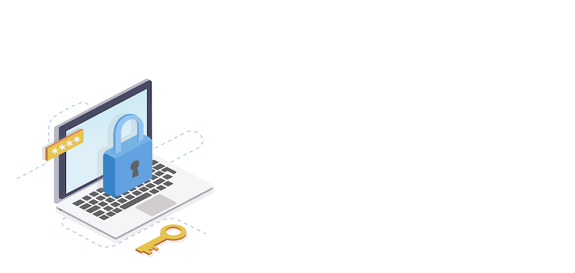 graphic of a laptop with a floating lock icon in front of the screen. The laptop and lock are in the bottom left of the image and the background is white.