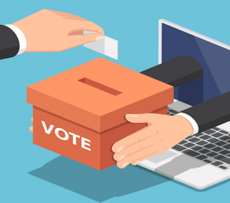 hands reaching out of laptop screen holding ballot box, another person's hand casting a vote