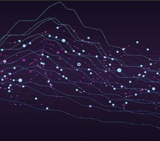 Infographic of big data stream, 3D model of multiple graphs and data points on a dark blue background