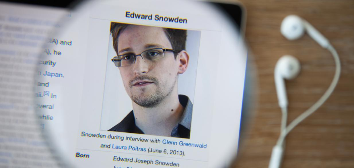 Edward Snowden's picture under a microscope