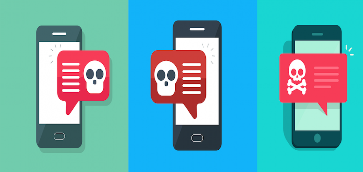 three cell phones with malware notifications