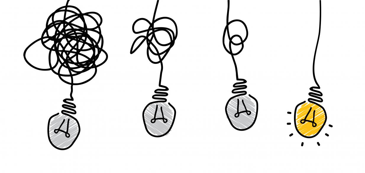 infographic of a string of tangled lightbulbs, with the last one being untangled