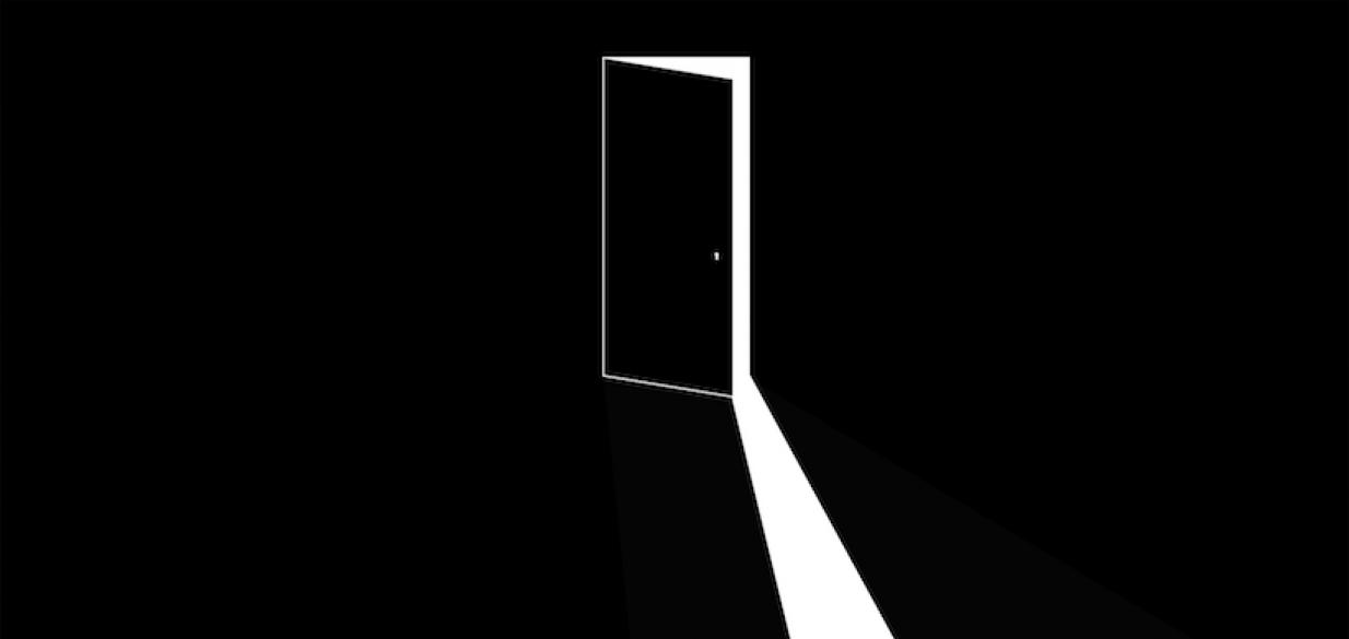 graphic of a door slightly ajar with white light spilling out, into a completely dark foreground