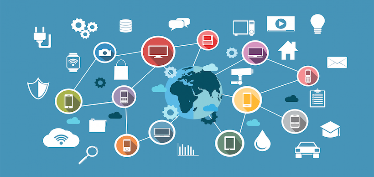 graphic of a lot of connected icons representing the IoT, over an image of the globe in the background